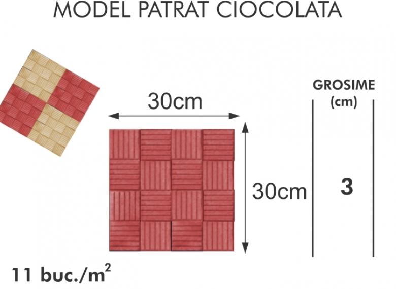 Pavaj vibropresat 004 - Model patrat ciocolata